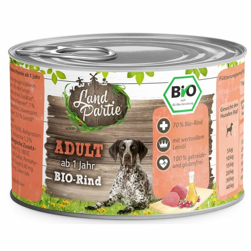 LandPartie Nassfutter Adult mit Rind 200g - Bio