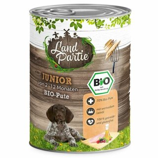 LandPartie Nassfutter Junior mit Pute 800g - Bio